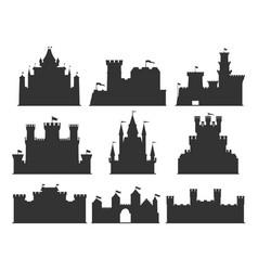 castles silhouettes set vector image
