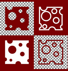 Cheese slice sign bordo and white icons vector