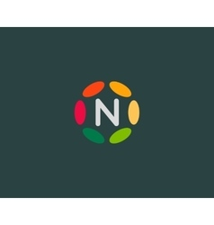 Color letter n logo icon design hub frame vector