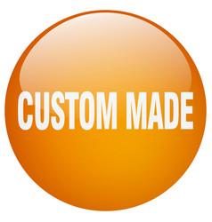 Custom made orange round gel isolated push button vector