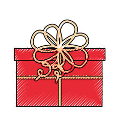 cute scribble christmas gift vector image