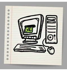 Doodle computer with money inside screen vector
