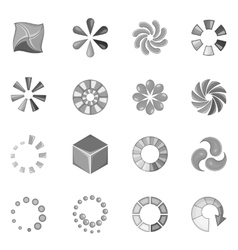 Download status icons set monochrome style vector