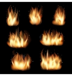 Fire flames set on black background vector