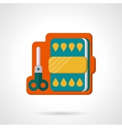 Flat color icon for scissors and paper vector image
