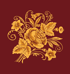 Floral pattern painting flowers on burgundy vector