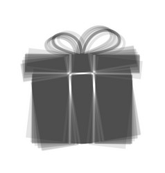 Gift box sign gray icon shaked at white vector