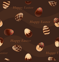 Happy easter-chocolate eggs seamless pattern vector