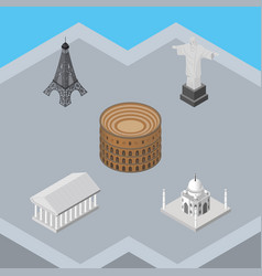 isometric travel set of athens rio india mosque vector image vector image