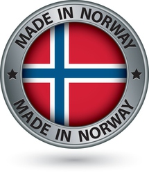 Made in norway silver label with flag vector