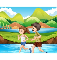 Man and woman jogging in the park vector