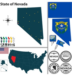 Map of Nevada vector image vector image