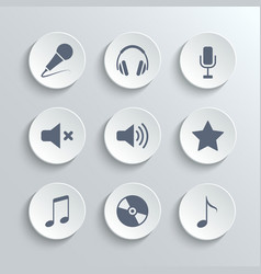 Media icons set - white round buttons vector image vector image