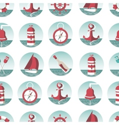 Nautical seamless pattern with sea elements vector