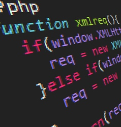 Page with php code vector image
