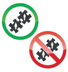 People puzzle permission signs set vector