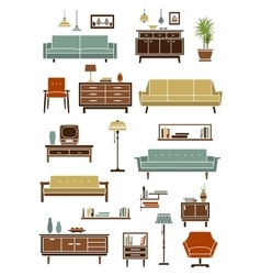Retro furniture with interior accessories vector