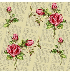 Rose pattern on newspaper vector