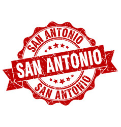 San antonio round ribbon seal vector