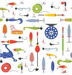 Seamless pattern with objects of fishing vector
