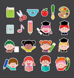 set of kids and education icon vector image