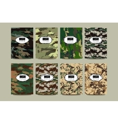 Set of Vintage Creative Cards with Camo vector image