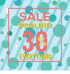 Special offer 30 percent on colorful green bubbles vector