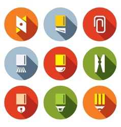 Stationery items icon set vector image