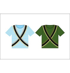 T-shirts with print cartridge belt clothing for vector