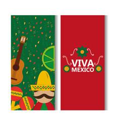 Viva mexico banner man mexican guitar lemon vector