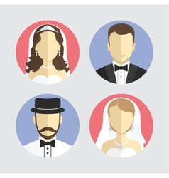 wedding couple avatar flat design vector image vector image