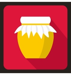 Jar of fresh honey icon flat style vector