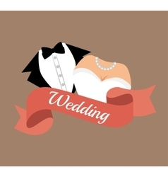 Suit and bridal gown wedding design graphic vector