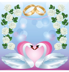 Wedding greeting or invitation card with swans vector image