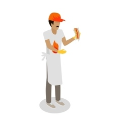 Hot dog seller with fresh cooked hotdog isolated vector