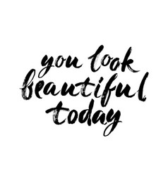 You look beautiful today handwritten modern brush vector