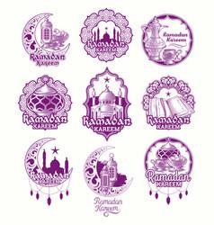 Set purple  sign for ramadan vector