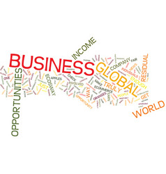 Global business opportunities text background vector