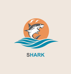 angry shark icon vector image