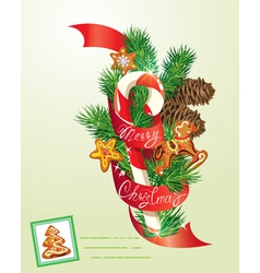 Card with xmas gingerbread candy and fir-tree bran vector