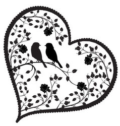 Heart with birds and flowers vector