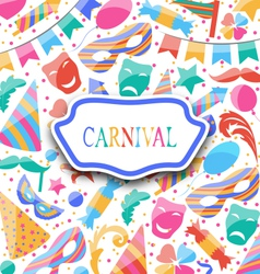 Festive postcard with carnival colorful icons and vector