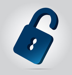 3d image - blue open padlock icon with shadow vector