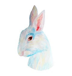 Watercolor white cute rabbit for easter hand drawn vector