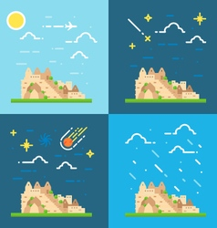 Flat design 4 styles of machu picchu peru vector