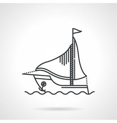 Black line icon for sailing yacht vector
