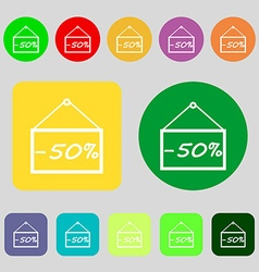 50 discount icon sign 12 colored buttons flat vector