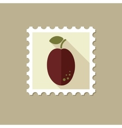 Plum flat stamp with long shadow vector