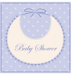 Baby shower with bib blue vintage vector