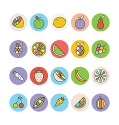 Fruits and vegetables icons 1 vector
